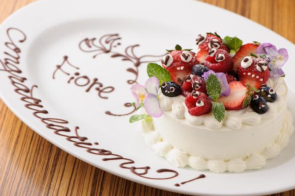 シェフ特製ホールケーキ付きイタリアン6,500円コース(4名様から)